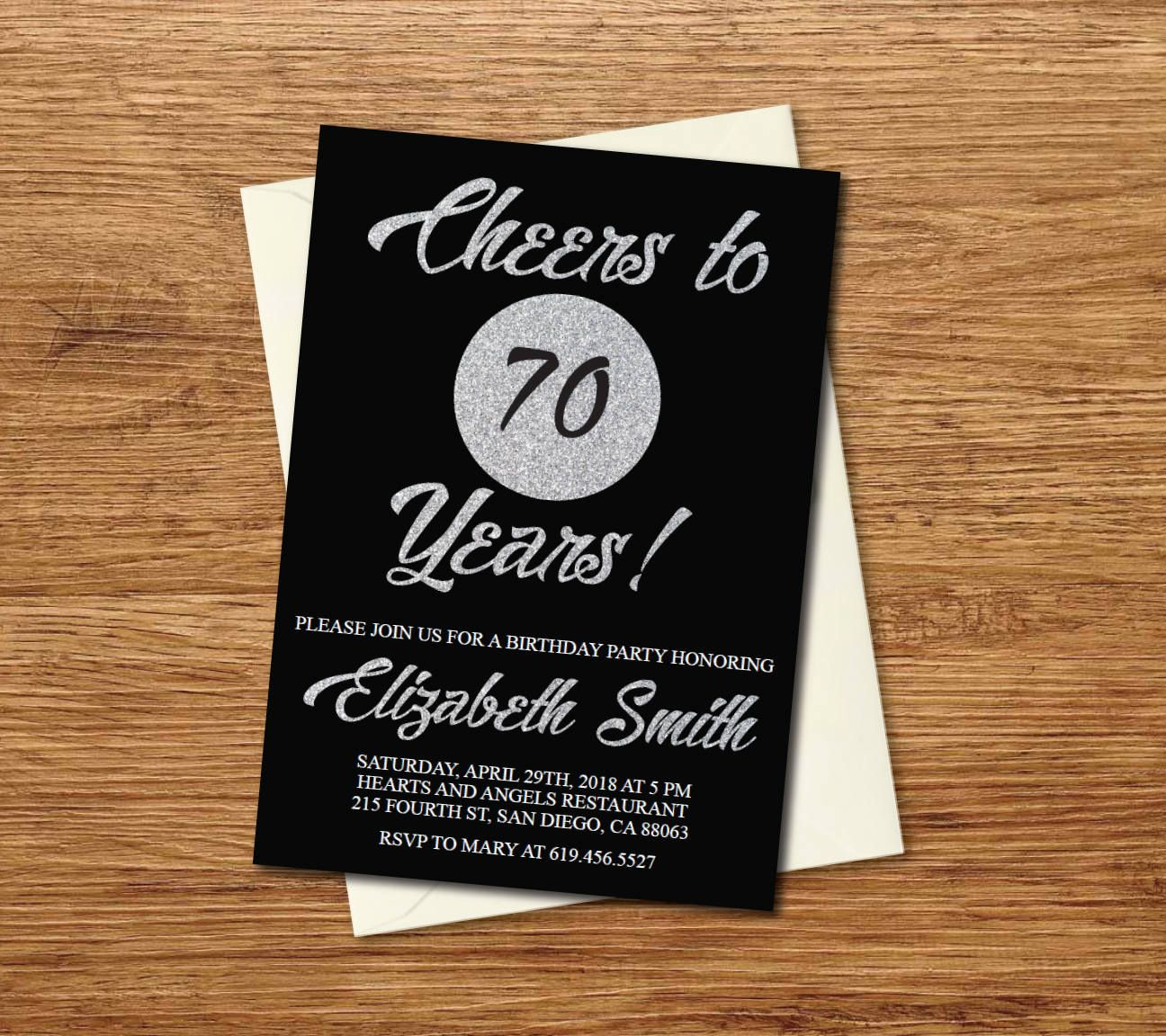 70th Birthday Invitation/Printable Silver & Black Birthday ...
