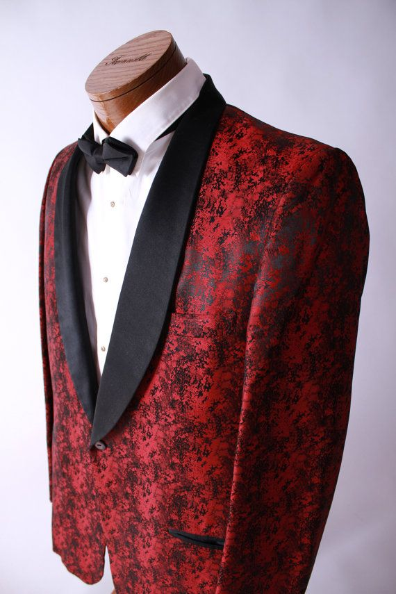 8db74414e78 Vintage 1950s Dinner Jacket Swank Red Brocade Evening by FabGabs, $164.00