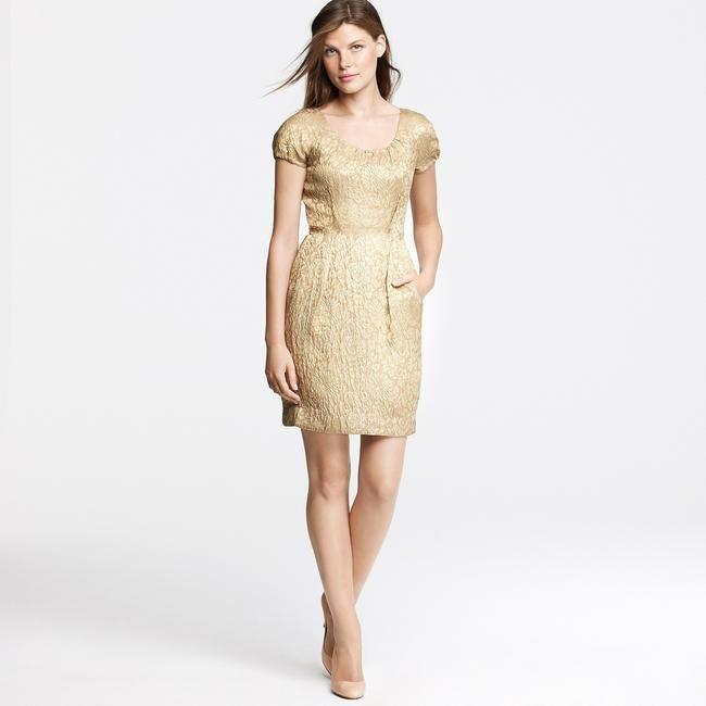 J Crew Gold Jacquard Dress Size 6 Jcrew