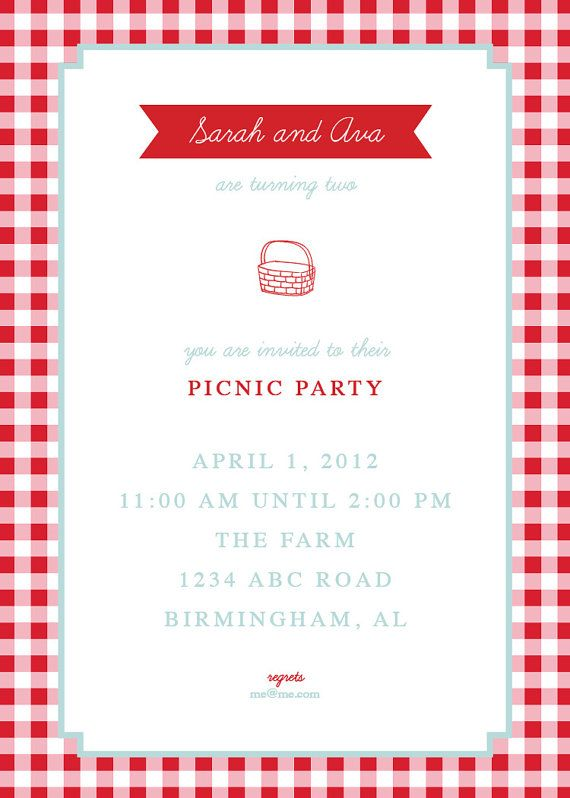 Picnic Invite By Thepinwheelpress On Etsy   Paper