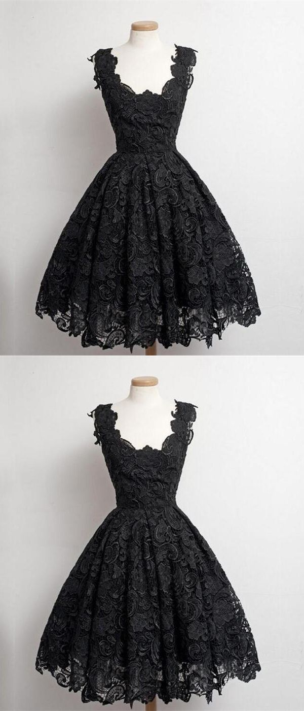 7 Real Beautiful Black Lace Short Prom Dresses,Simple