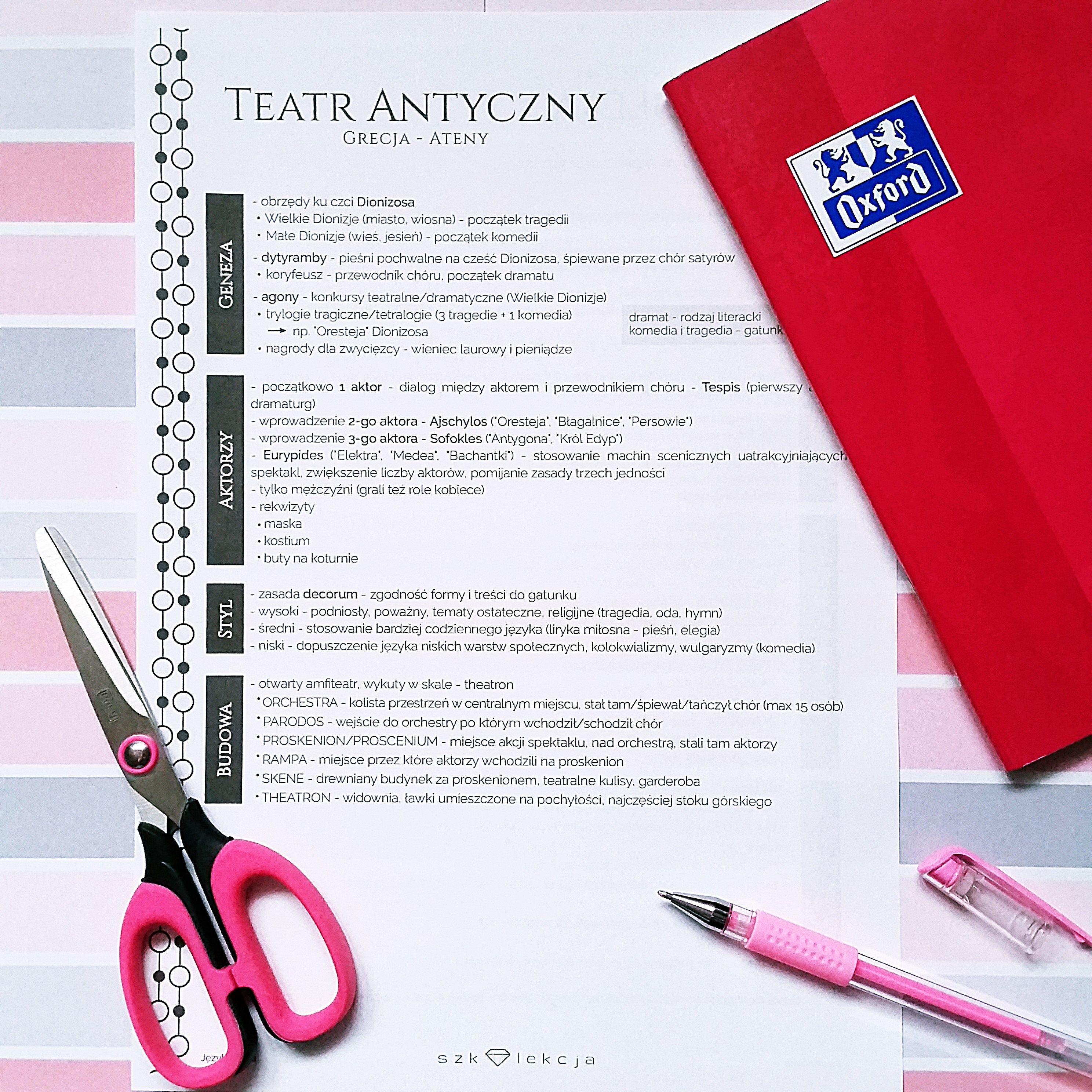 Notatka Polski Teatr Antyczny School Notebooks School Subjects School