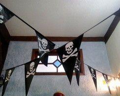 Bandeirinhas Caveira p/festa pirata