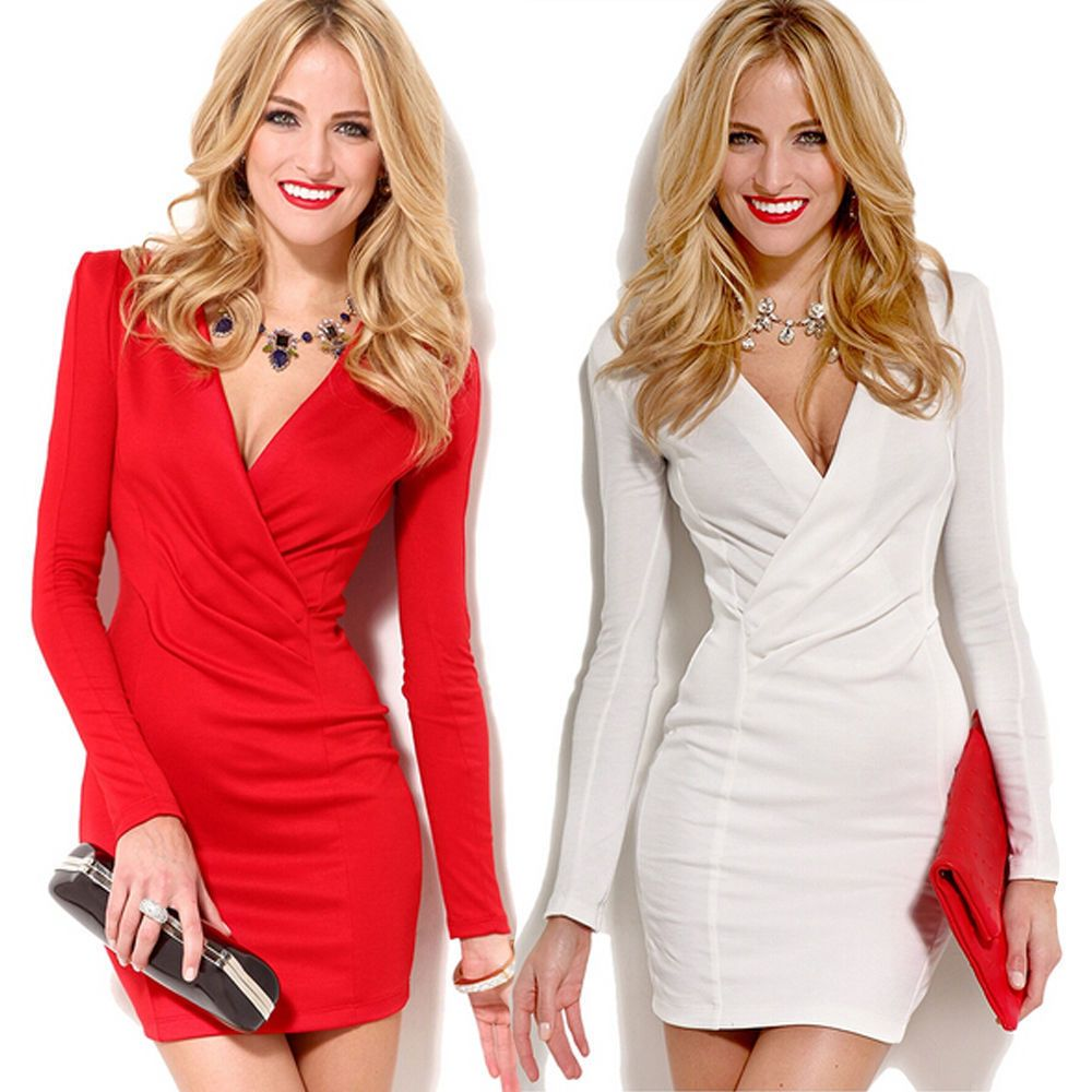 Women Summer Formal Long Sleeve Dresses Party Cocktail Bodycon Short