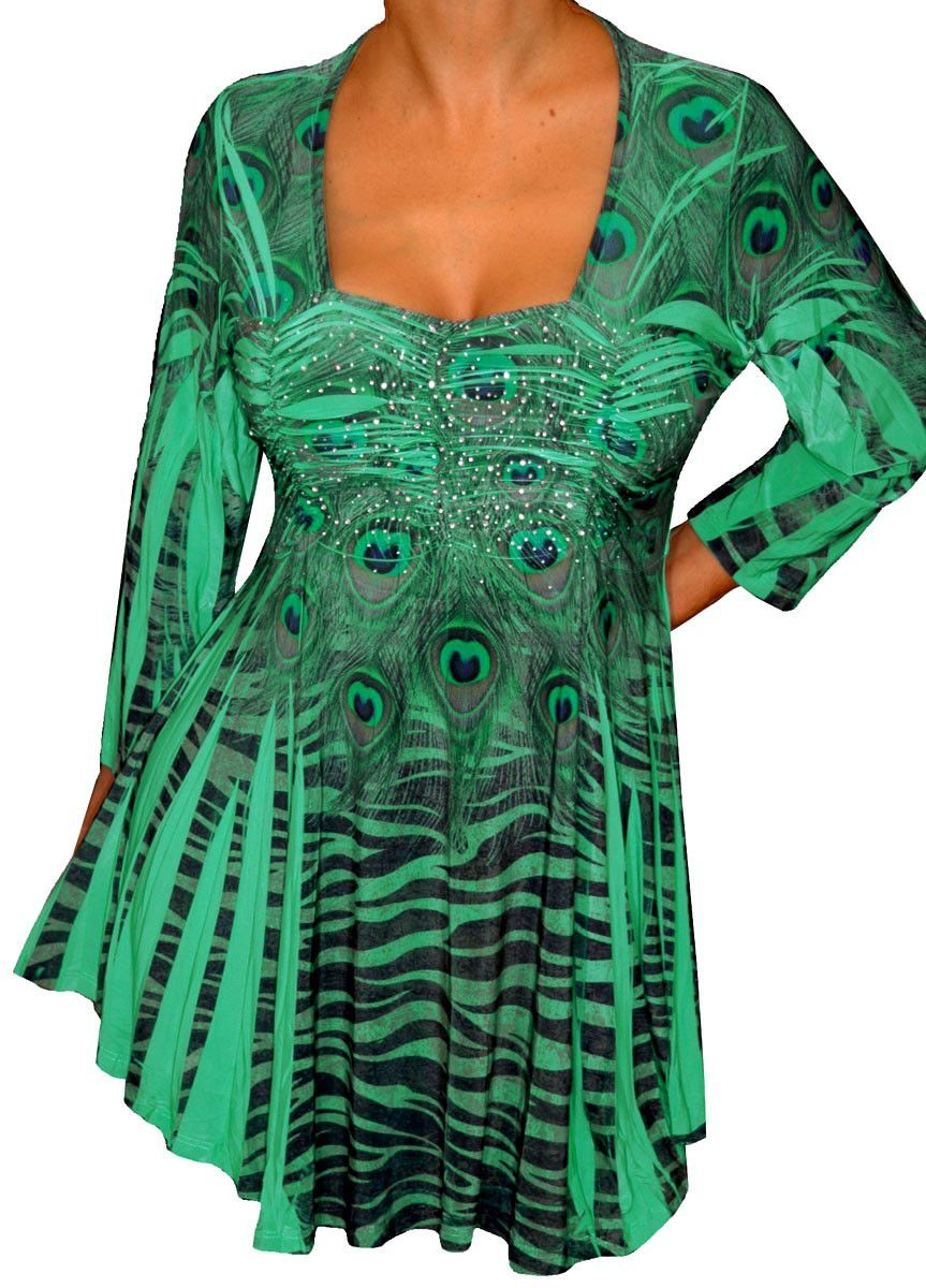 b3779ef790e5d Plus Size Clothing Emerald Green Empire Waist Womens Top Shirt ...