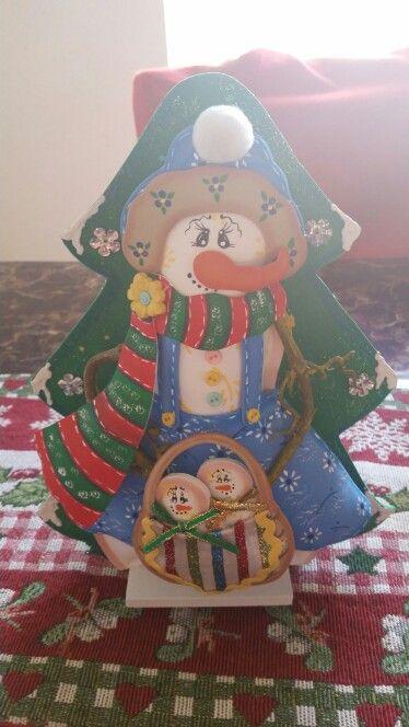 Servilletero muñeco de nieve de foami