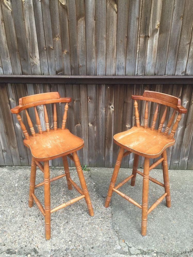 Pair Of Wooden Kitchen Breakfast Bar Stools Pine High Back
