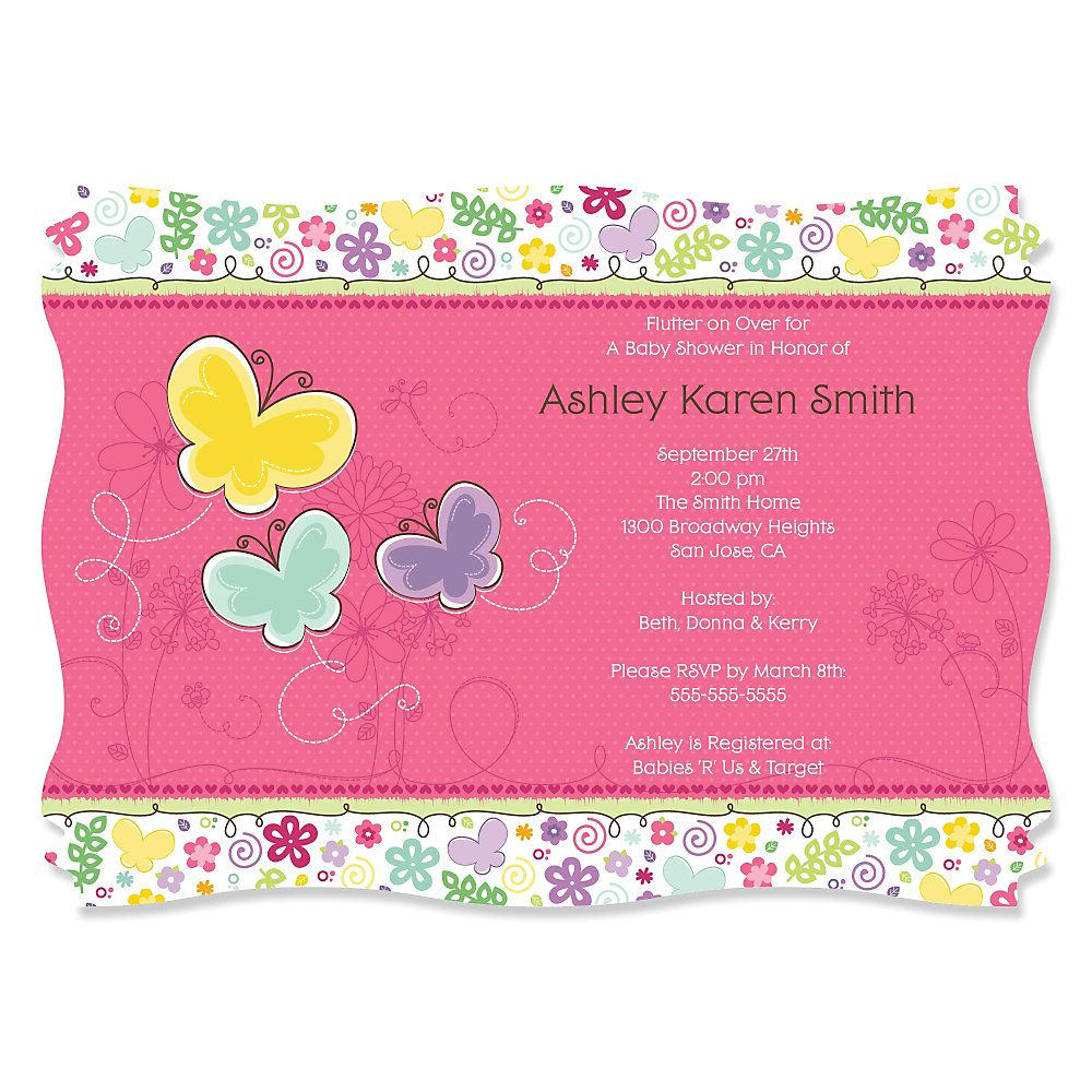 Playful Butterfly and Flowers - Personalized Baby Shower Invitations ...