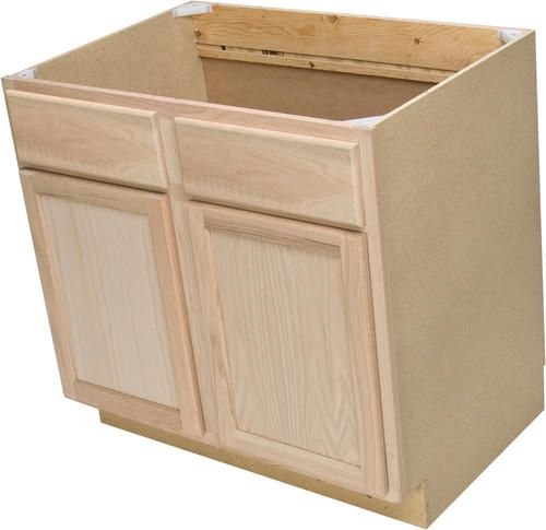 Quality One 36 X 34 1 2 Unfinished Oak Sink Base Cabinet With False Drawers At Menards Base Cabinets Custom Kitchen Cabinets Cabinet