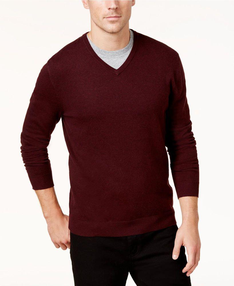New Alfani Mens Regular Fit V Neck Heathered Solid Pullover Sweater