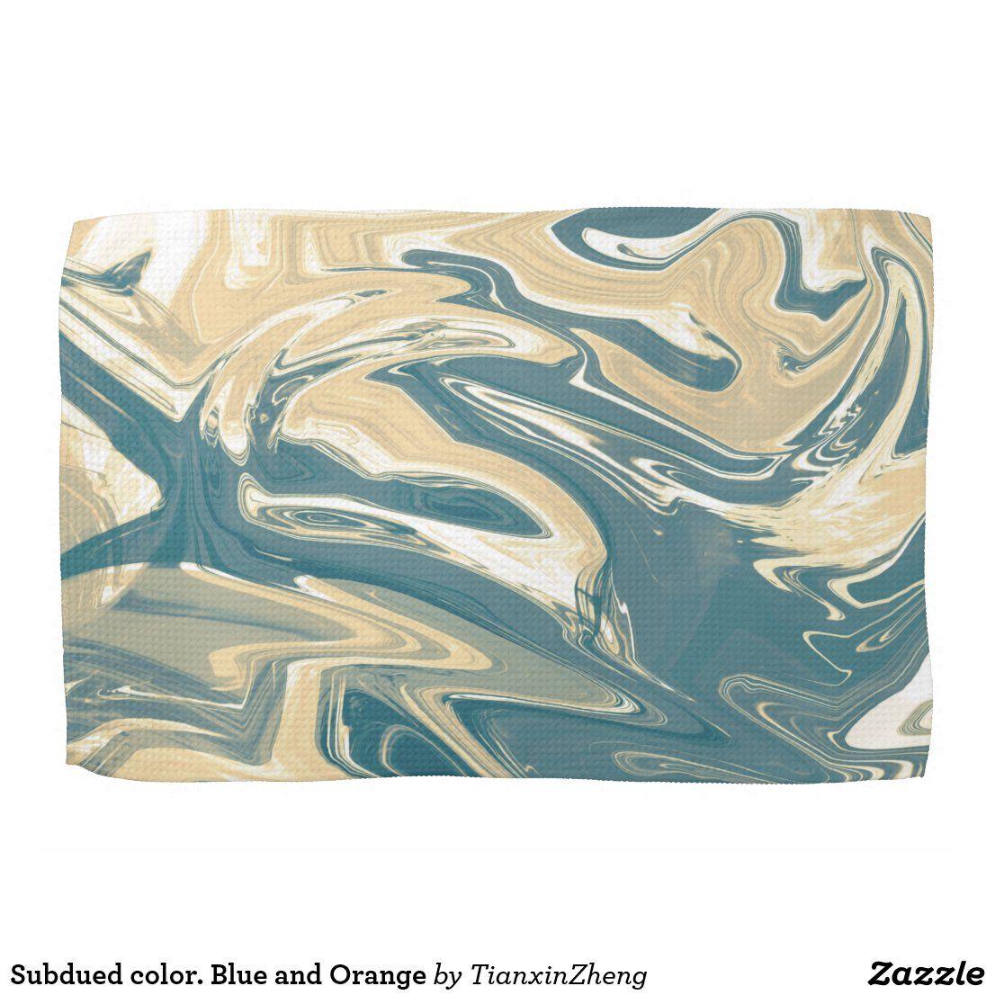 subdued color blue and orange kitchen towel zazzle com in 2020 orange kitchen kitchen towels muted colors pinterest