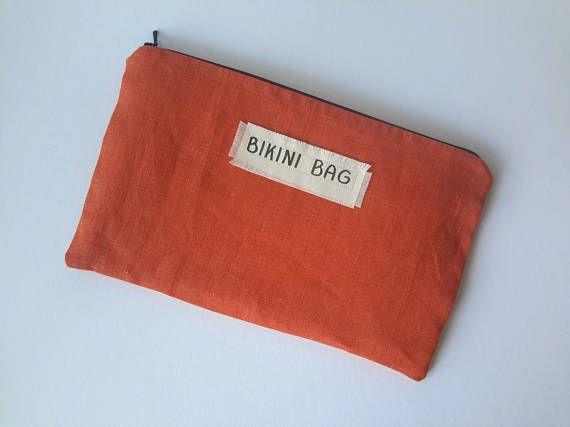 Wet bikini bag in orange, Linen water resistant loundry bag for traveling, summer beach - pool bag, Waterproof cosmetic bag, gift idea