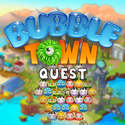 Play matching game, Bubble Town Quest! Enjoy the tropical