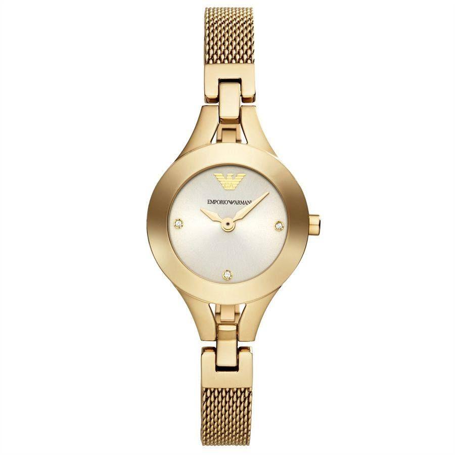 ساعة امبوريو ارماني كلاسيك ذهبي فاتح للنساء بسوار من الستانلس ستيل Ar7363 Rose Gold Watches Women Bracelet Watch Mesh Strap Watch Woman