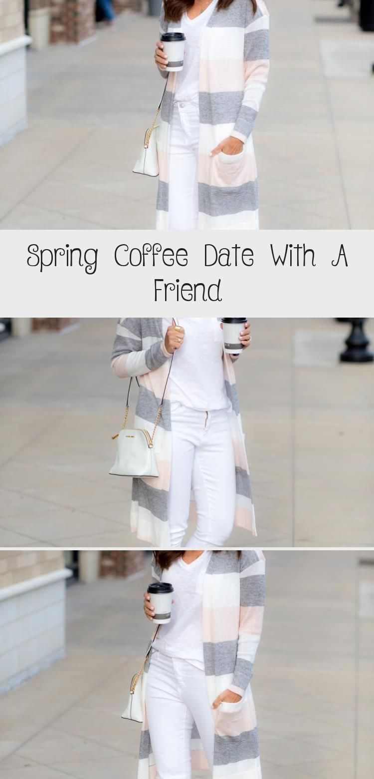 Spring Coffee Date With a Friend. you will be so comfortable for a day in the city wearing white jeans, white T-shirt and soft cardigan and cute sandals. Cyndi Spivey #whitejeansoutfit #springfashion #springcardigan #springfashionCold #springfashionNYC #springfashionForSchool #springfashionBlack #springfashionOutfits #coffeedate