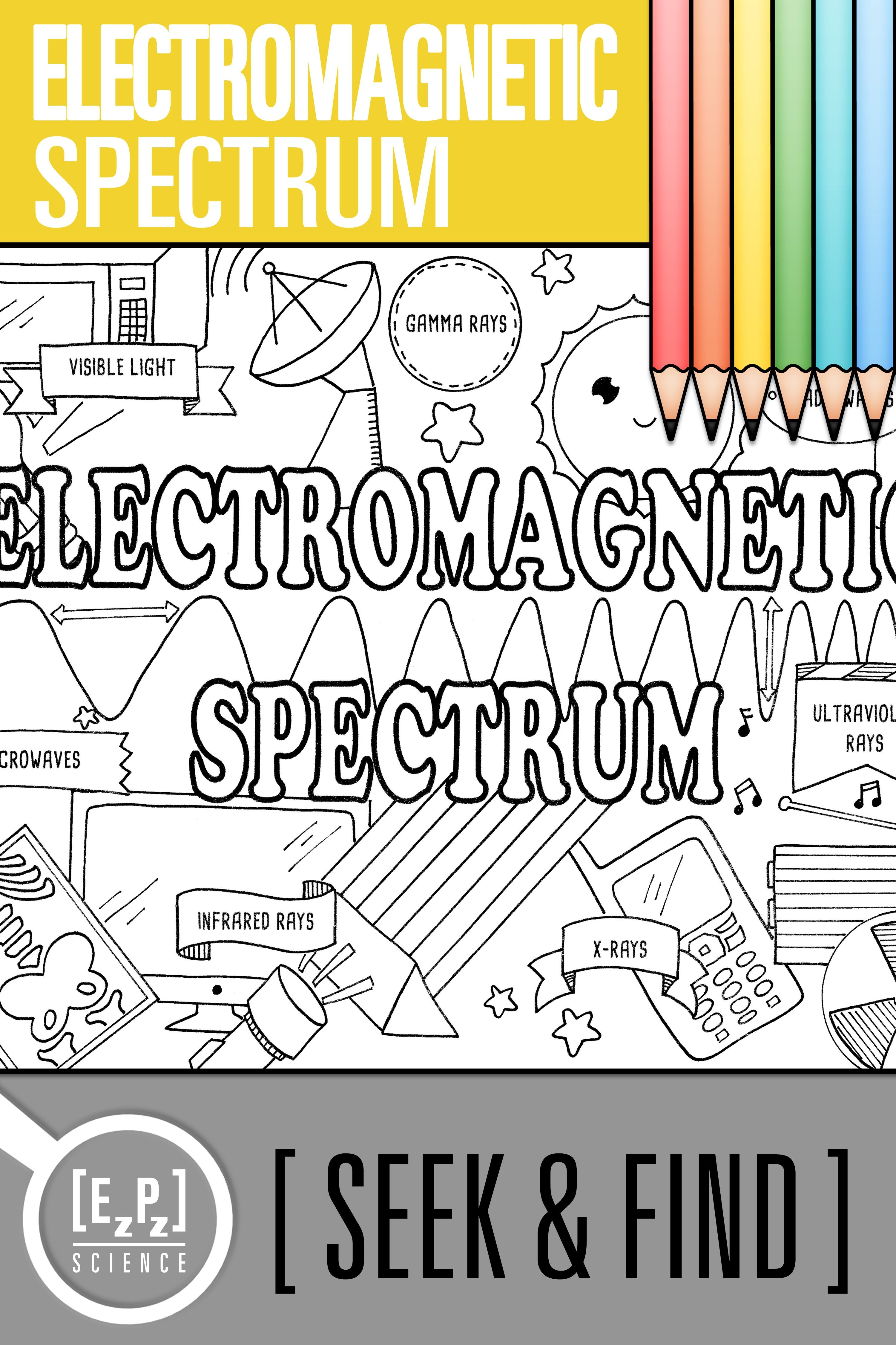 Electromagnetic Spectrum Seek And Find Science Doodle Page