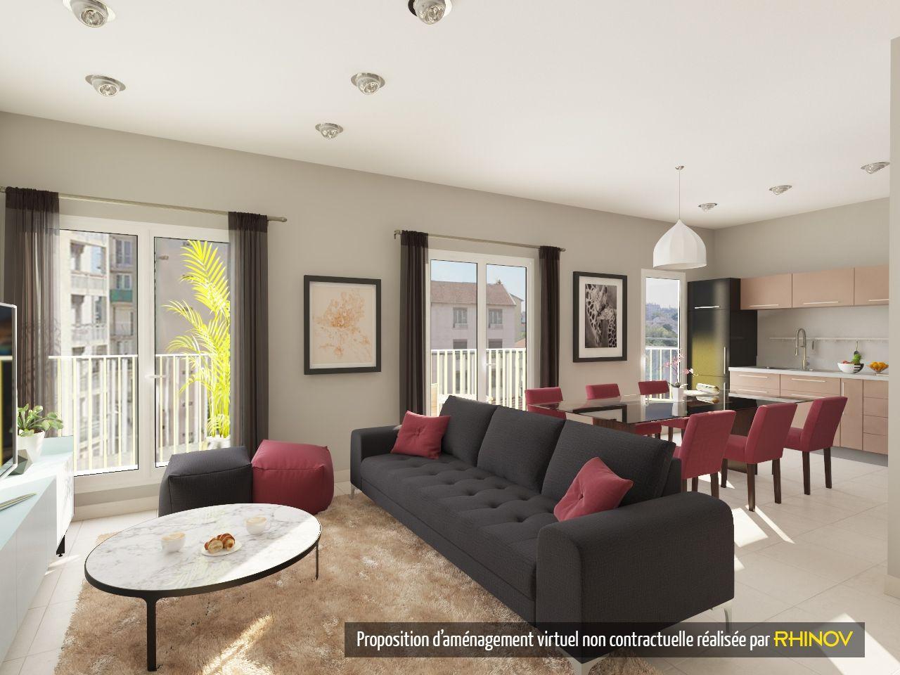 Visuel 3D - RHINOV - Salon séjour - Appartement - Chic | deco salon ...