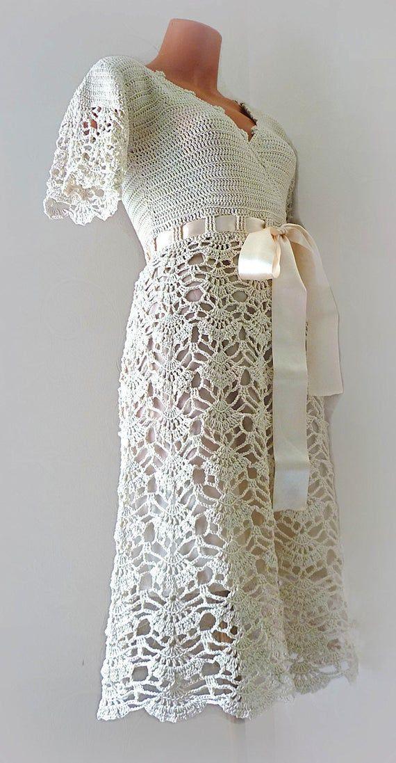50er Jahre Stil Brautkleid, einfache Brautkleid mit kurzen Ärmeln, Midi, wickeln, häkeln Baumwolle lässige Kleidung #hochzeitskleiderhäkeln