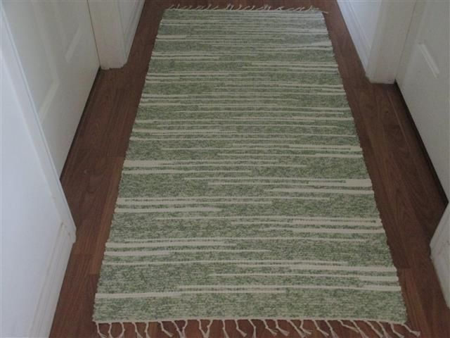 2 1 2 X 5 1 2 Runner Green And Ivory Machine Washable Cotton Hand Woven Rug Hand Woven Rag Rug Rag Rug Rugs