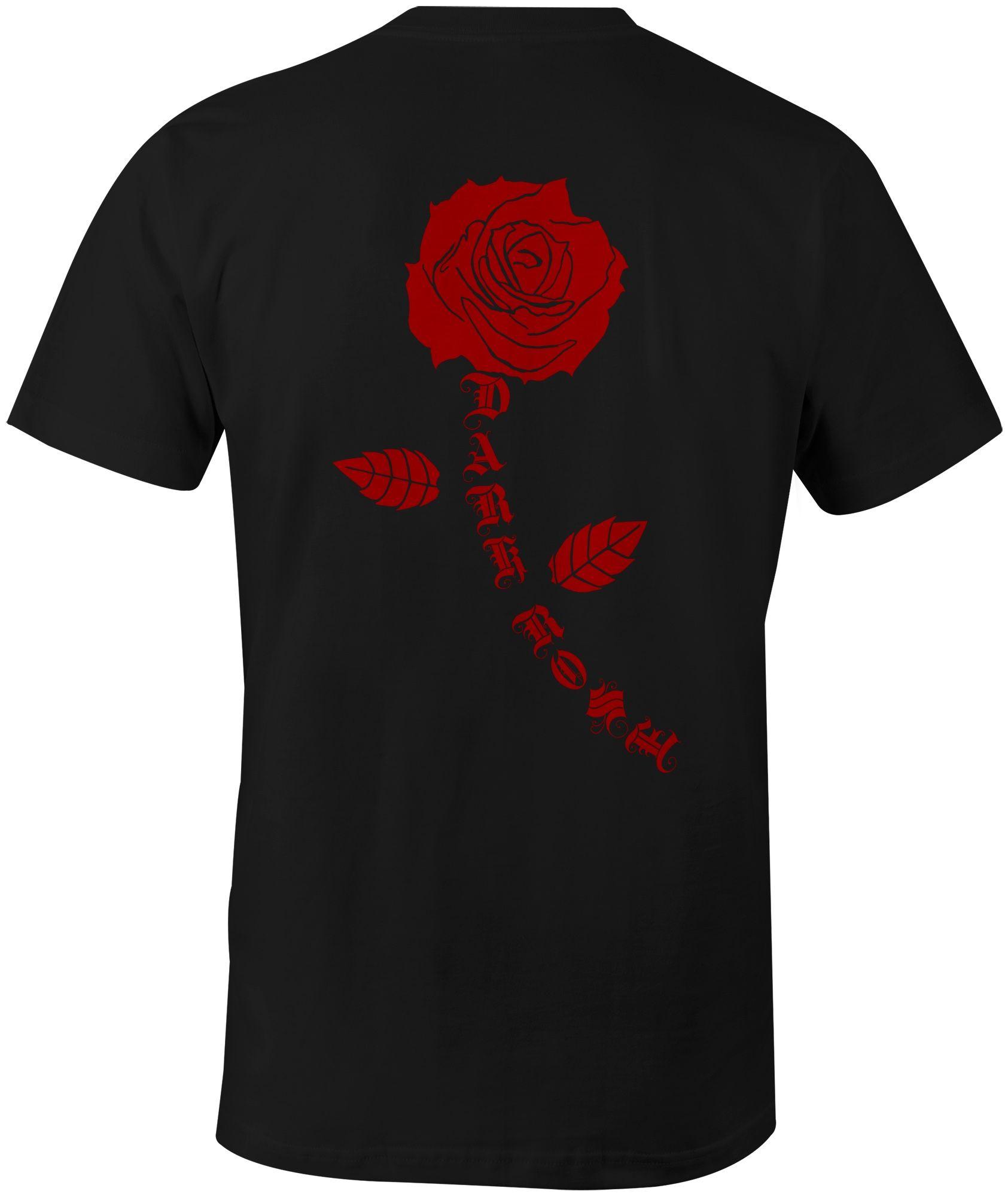 Dark Rose Calligraphy Tatuagem rosa, Rosas