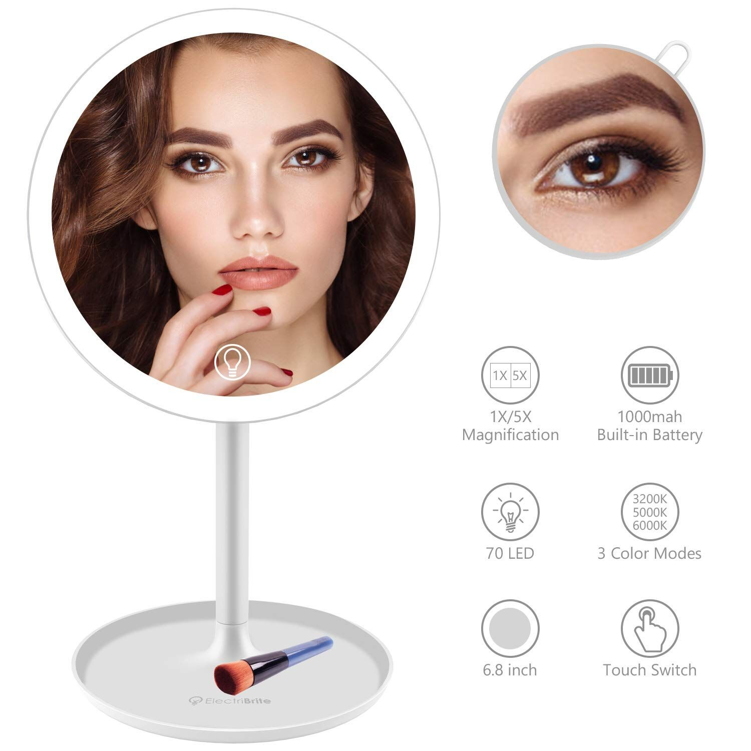 LED Lighted Makeup Mirror for Vanity Rechargeable 8 inch
