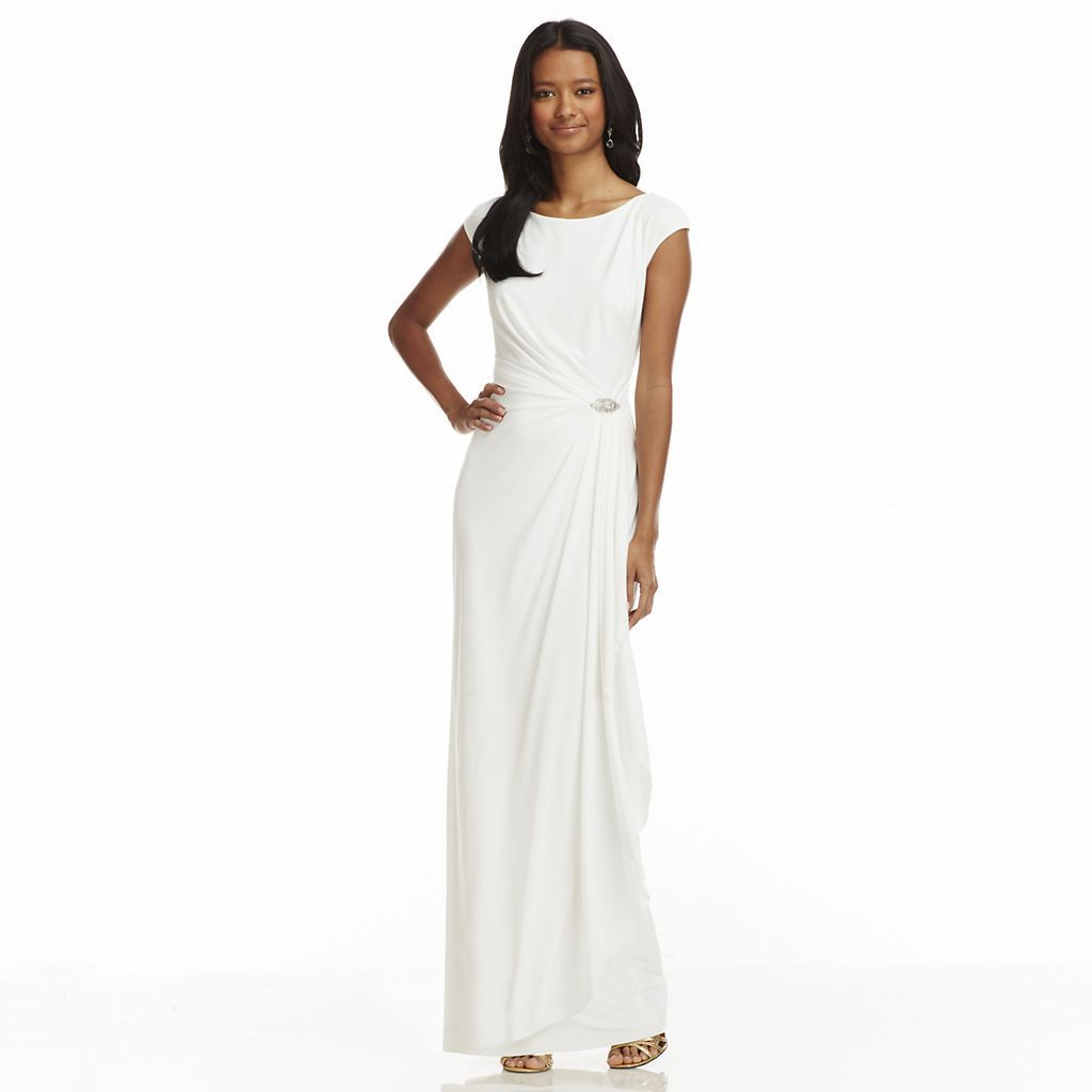 Chaps Embellished Faux-Wrap Evening Gown Evening White