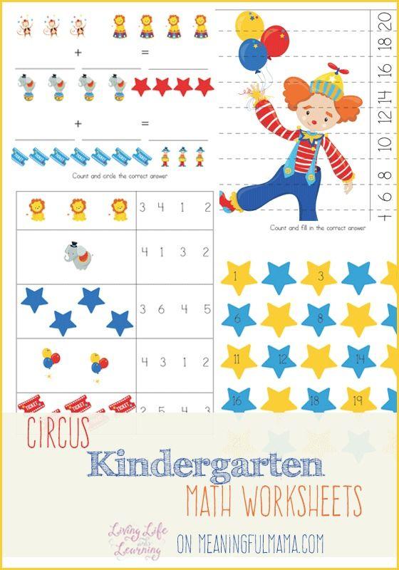 Circus Kindergarten Math Worksheets Activities for Kids