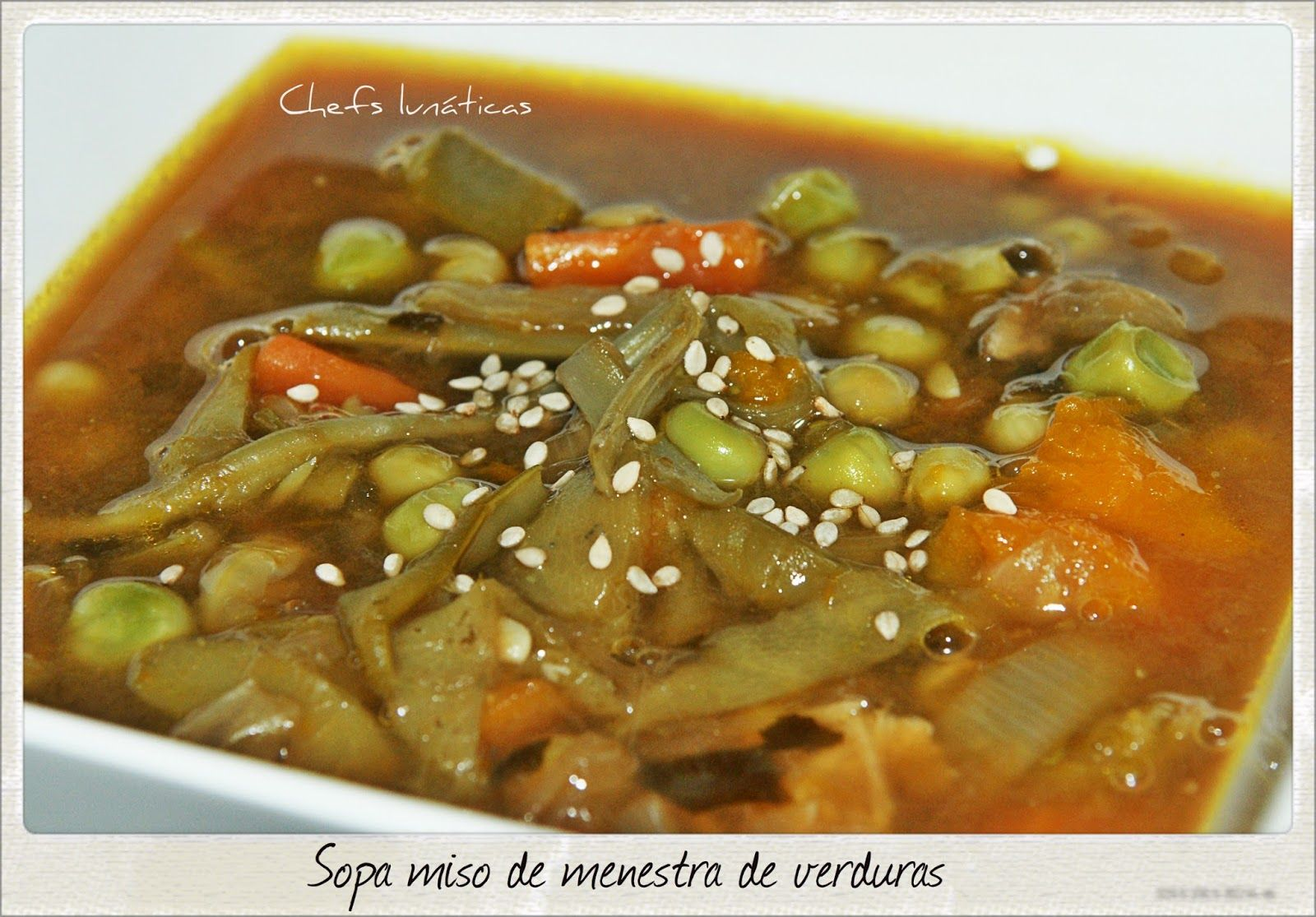 Sopa Miso De Menestra De Verduras Menestra De Verduras Verduras Guisantes