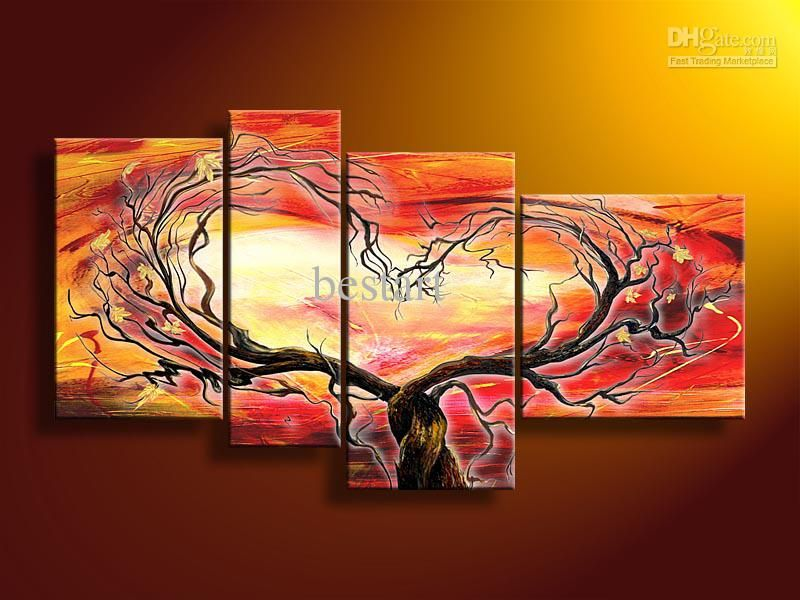 Hand Painted Wall Art 2017 hand painted oil wall art sun red tree landscape oil painting