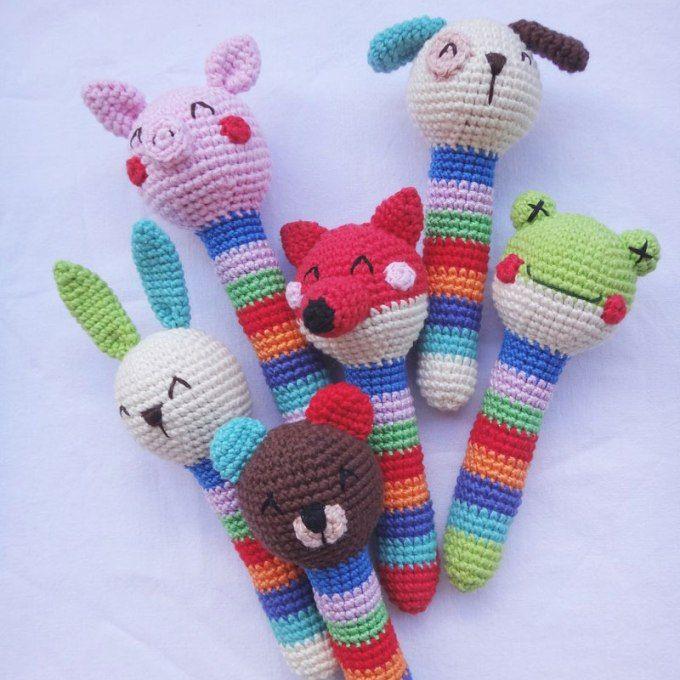 Crochet animal baby rattles + patterns | Häckeln, Häkeln und Häkelideen