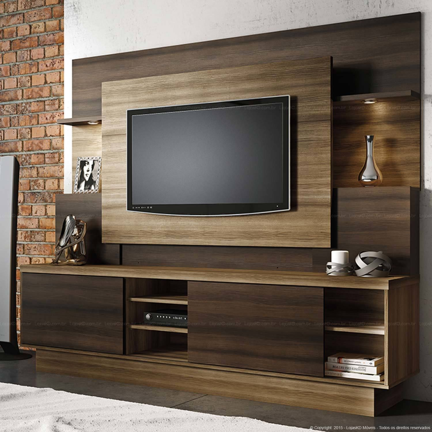 Estante Home Theater para TV at Polegadas Aron Capuccino Wood