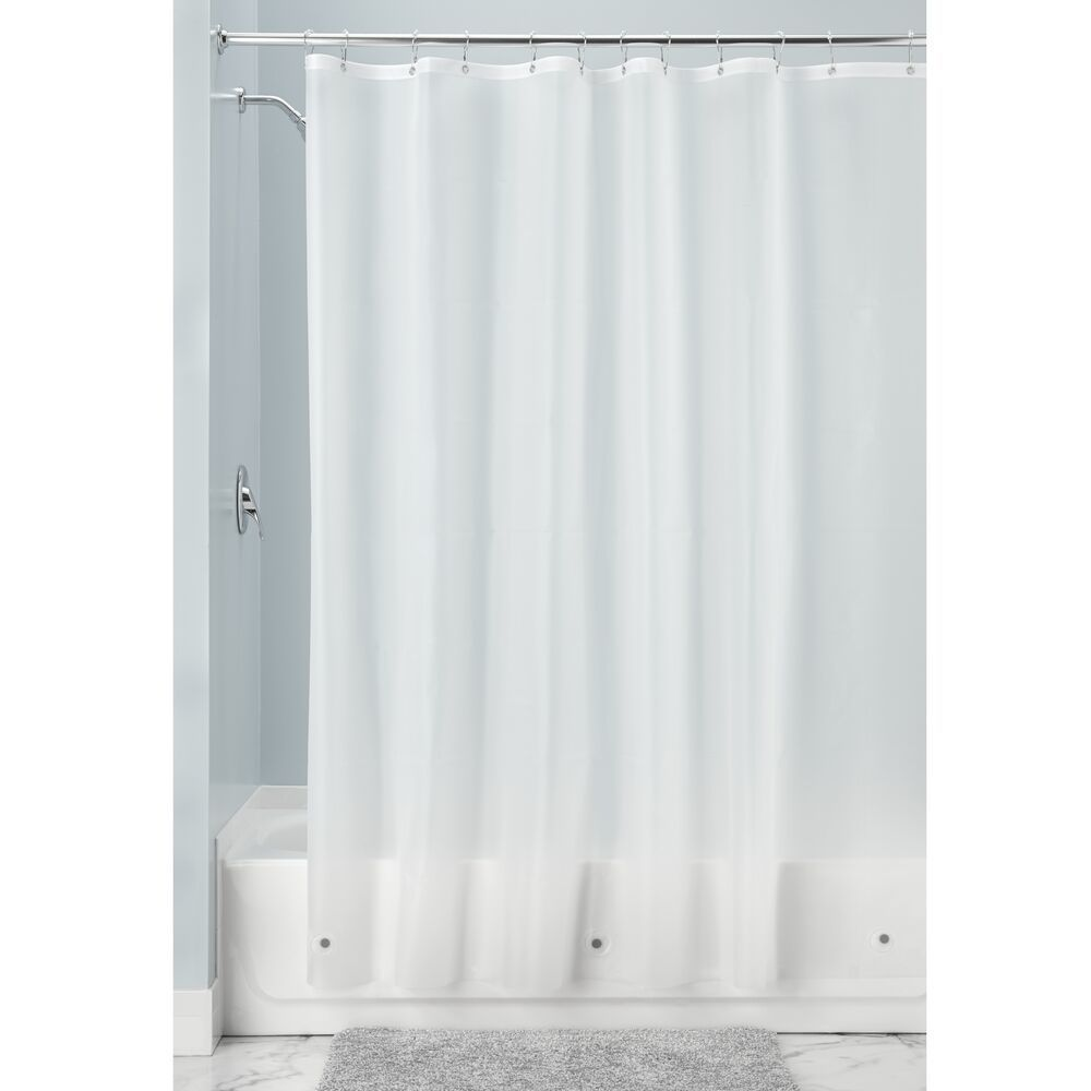 X Long Vinyl Shower Curtain Liner For Bathroom In Clear Frost 72