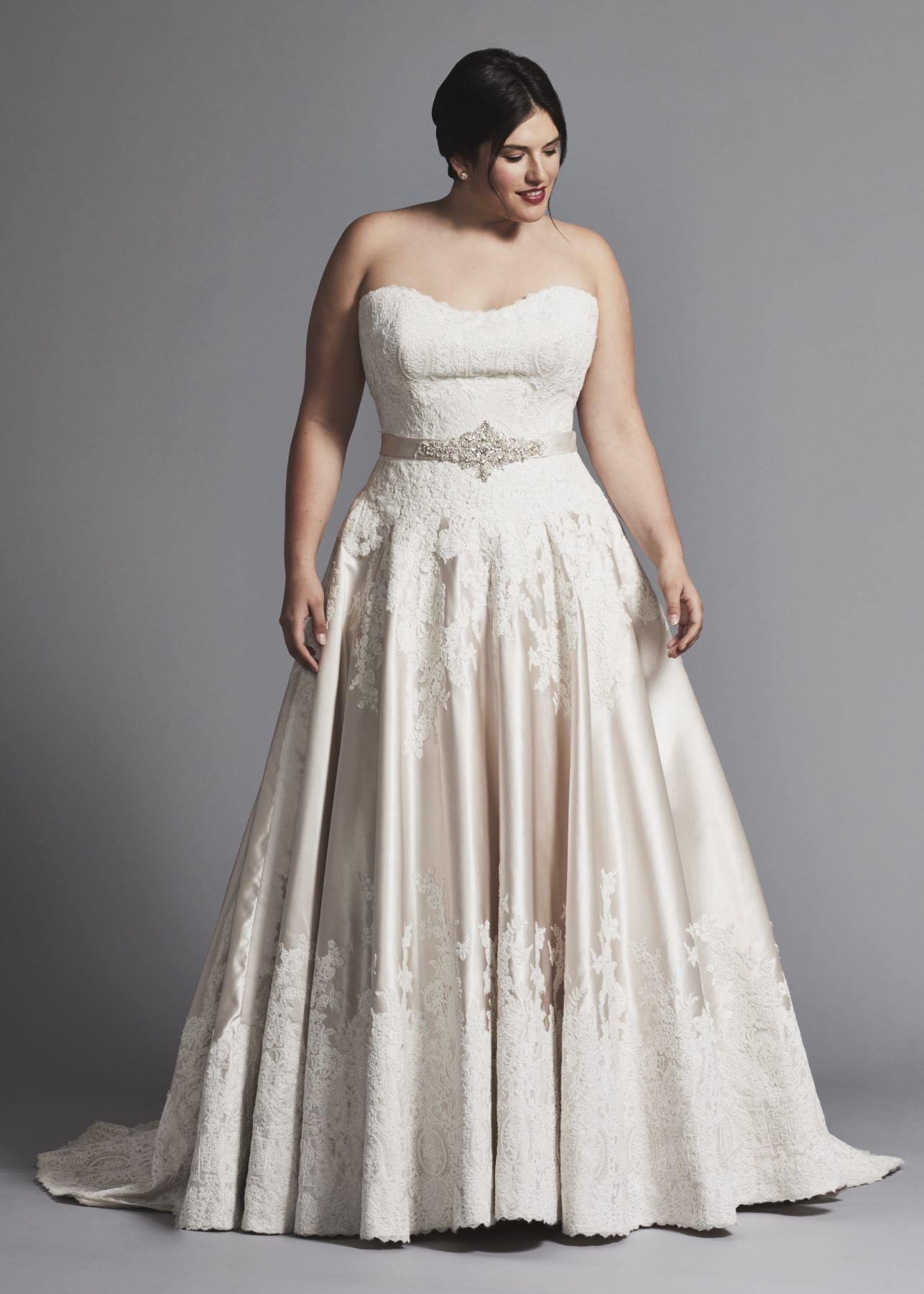 f237b9a070d Dresses on Kleinfeld Bridal. Strapless A-line lace bodice and satin skirt wedding  dress with sweetheart neckline in plus size.