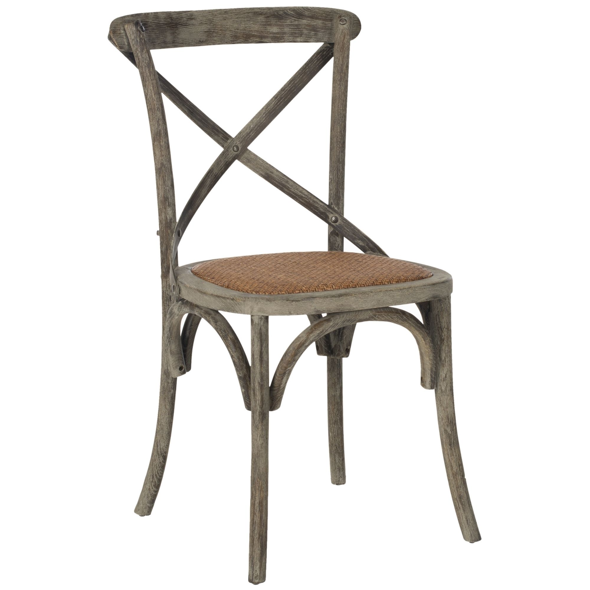 Safavieh Franklin X back Distressed Colonial Grey Oak Chairs Set
