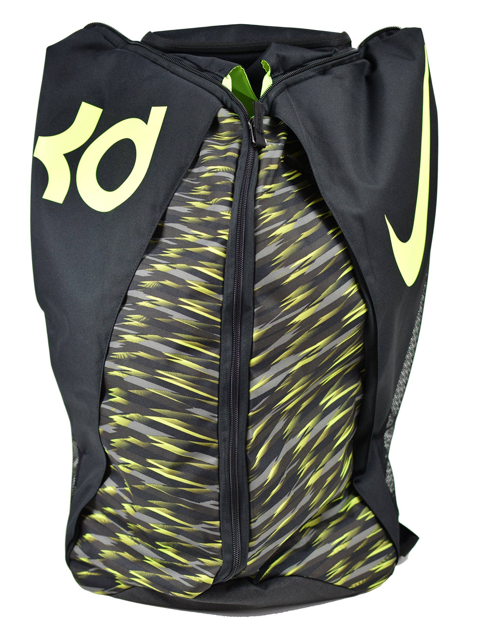 5de72acaa39 Nike KD Max Air VIII Basketball Backpack Black Tumbeled Grey Volt. Opens  like a duffel bag for easy access. Shoe compartment holds up to a size 15.