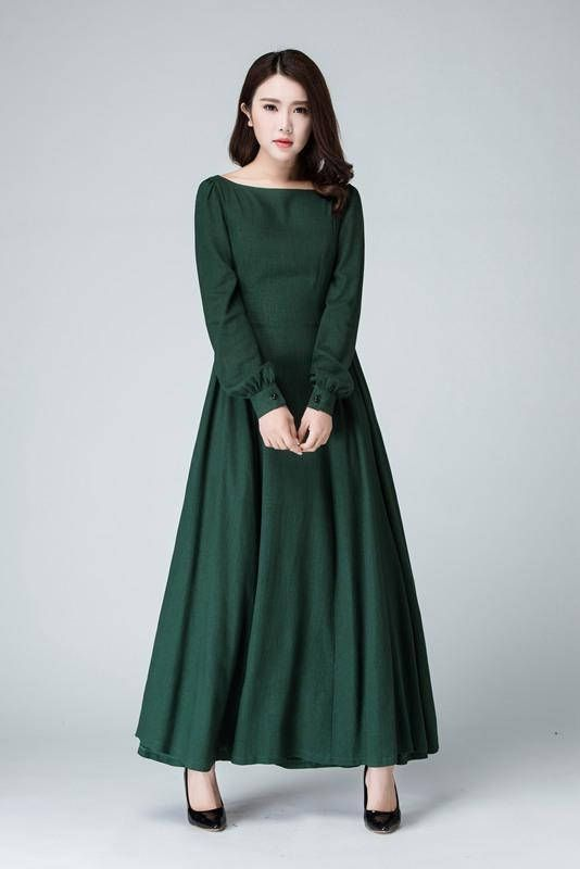 7fd91c1306 This Handmade linen dress is so Chic and feminine, Cracted with soft linen  in green