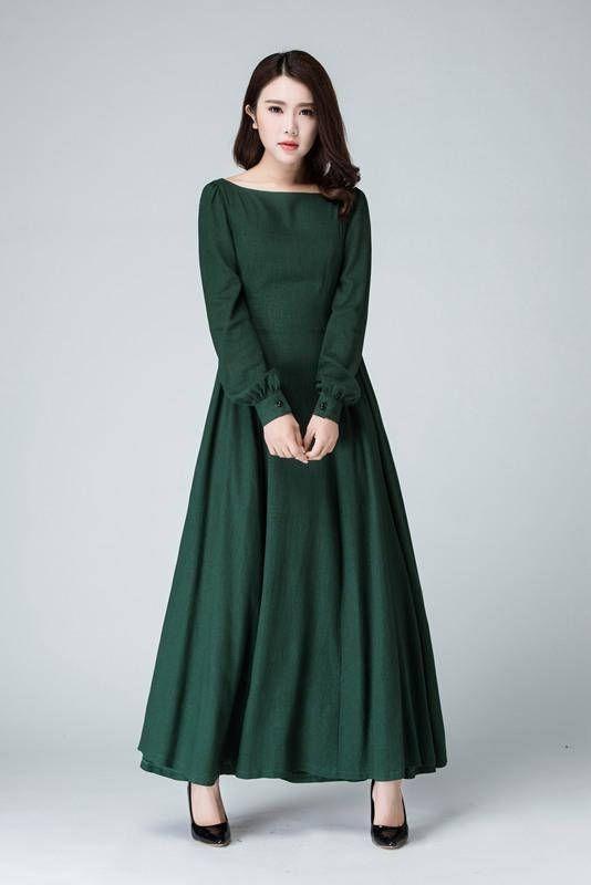 4571a93c5326 Dark green dress woman dress Linen dress long sleeve dress