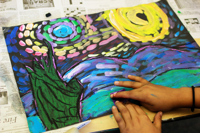 starry night mixed media van gogh art project for kids