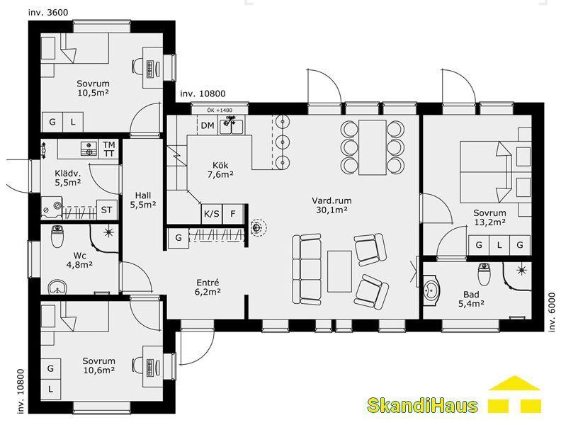 Schwedenhaus SkandiHaus 1-geschossig 98 Grundriss 99-4 Grundriss - plan de maison en l de plain pied gratuit