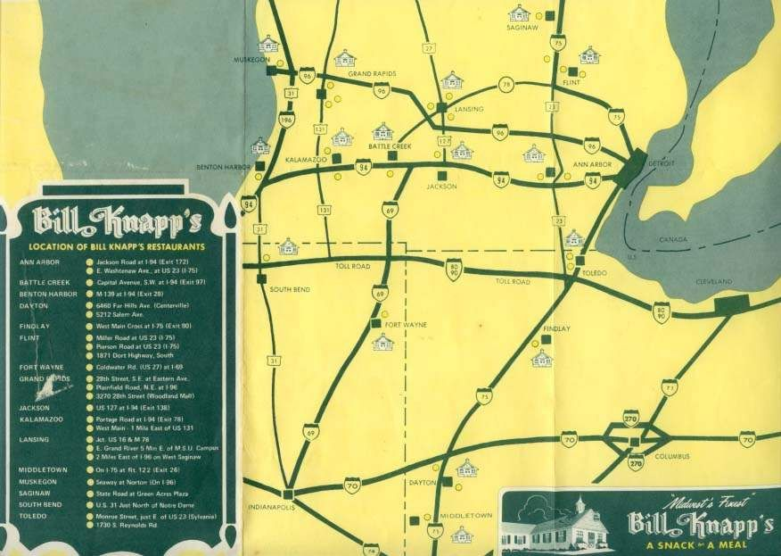 Map of former Bill Knapp\'s Restaurant locations. Bill Knapp\'s was a ...