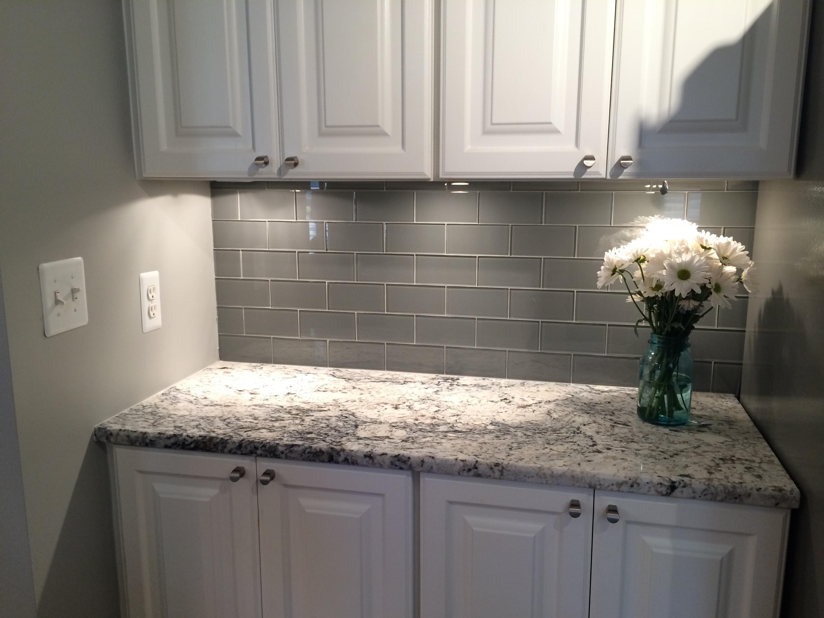 White Tile Backsplash Kitchen Cabinets Columbus 3 Subway