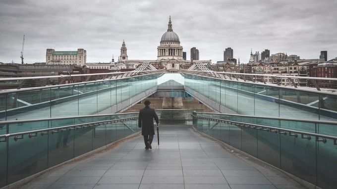 "Photo ""TheBowlermanWalkingonMillenniumBridge."" by byrnephotography London"