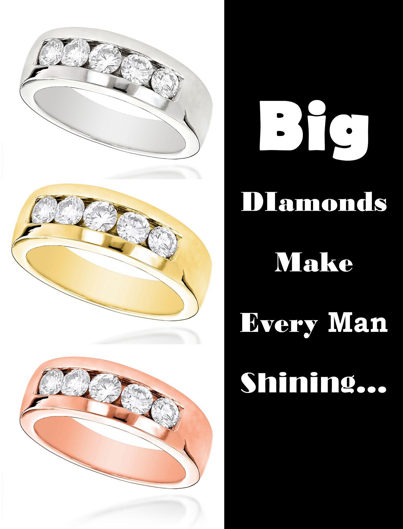 5 Stone 14K Gold Mens Diamond Wedding Band 1ct | Quality diamonds ...