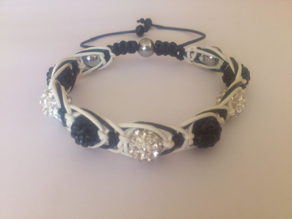 Handmade Women's Shamballa Bracelet with Leather Cord,Czech Crystal Disco Ball,Hematite from Latvia. Natural Hematite Silver Tone (8 mm) (3 pcs. Czech Crystal Rhinestones Pave Clay Round Disco Ball Spacer Beads Clear (10 mm) (3 pcs.