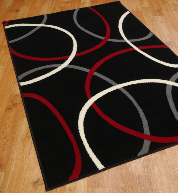 Pandorum Rugs In Black Red Cream And Grey