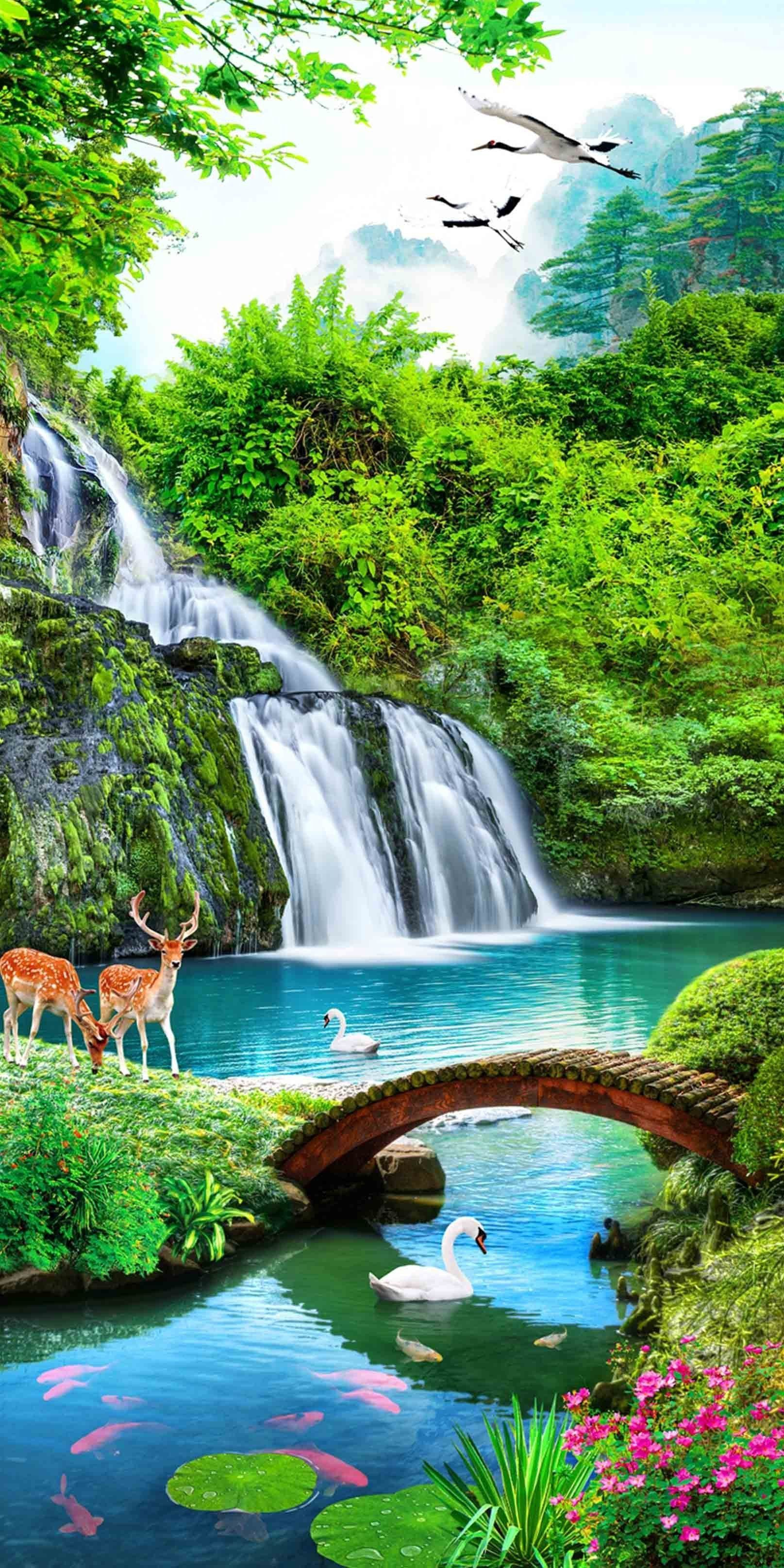 3d Waterfall Animals 1327 Stair Risersdu Simpan Di 2020 Pemandangan Air Terjun Fotografi Alam