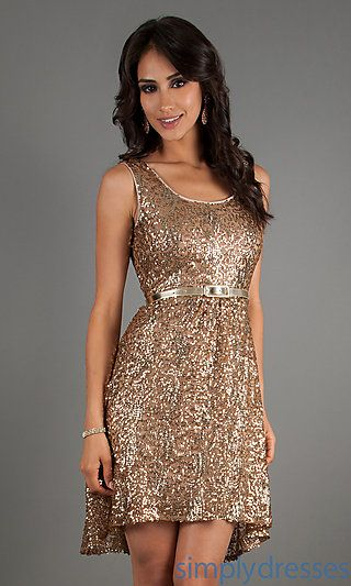 4ebd3104de6f2 Short Sleeveless Sequin Dress by Ruby Rox at SimplyDresses.com Maybe take  the belt off and put a ribbon?