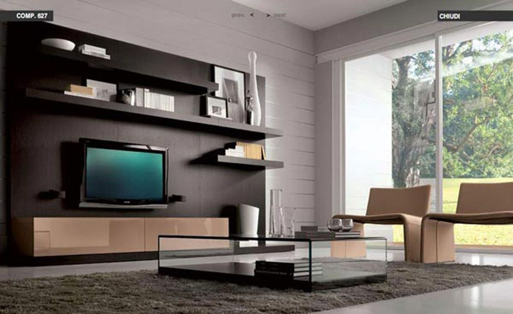 Charming Modern Living Room Decorating Ideas With Black Shelvie With TV Mount And  Grey Rug And Wall