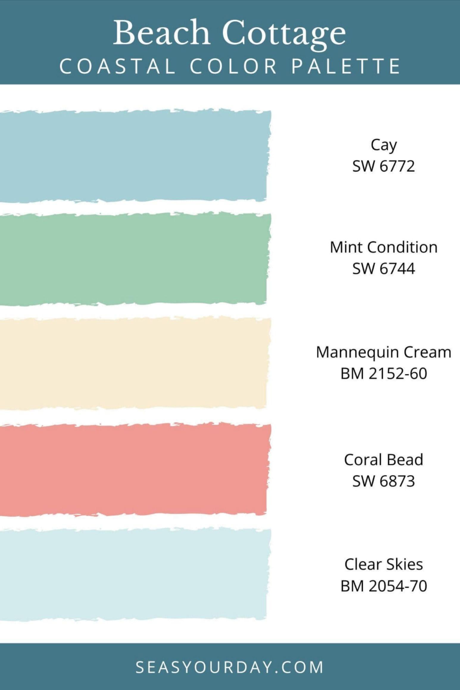 Beach Cottage Coastal Color Palette In 2020 Beach House Colors Beach Cottage Style Coastal Color Palettes