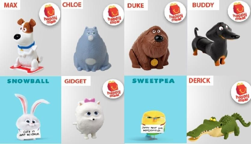 Mcdonalds Secret Life Of Pets Happy Meal Meet Max Chloe Duke